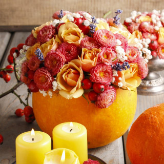 DIY Fall Decor Pumpkin Flower Arrangement