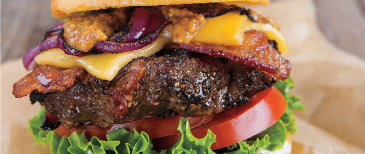 Bacon, Cheddar & Grilled Onion Topped Burgers