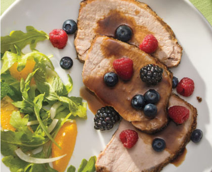 Balsamic-Honey Roast Pork<br /> Loin with Fresh Berries