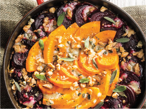 Beet, Rutabaga & Sweet Potato Gratin