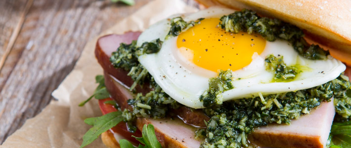 Fried Egg, Ham & Pesto Sandwiches