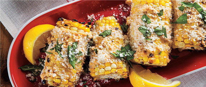 Grilled Corn with Parmesan Spread & Basil