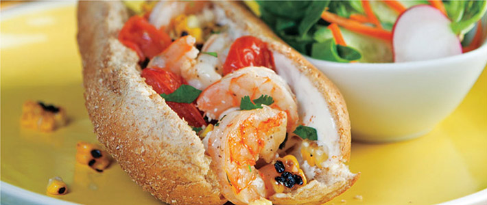 Grilled Shrimp, Corn & Tomato Rolls with Lime-Mayo