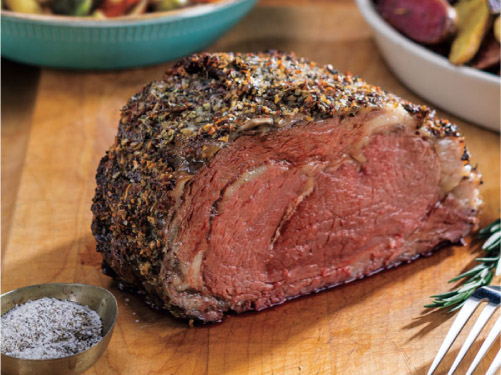 Mustard-Herb Rubbed Prime Rib Roast with Wine Jus