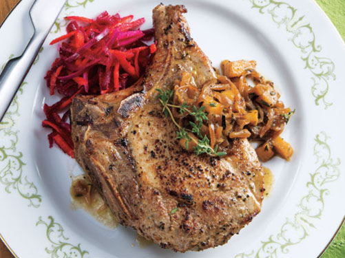 Pork Chops with Shallot-Mustard Chutney & Spiced Beet Salad