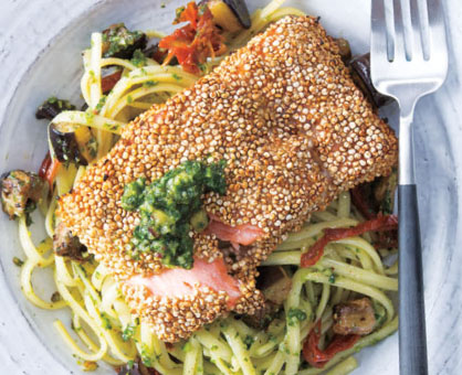 Quinoa-Crusted Salmon over Kale Pesto Linguine