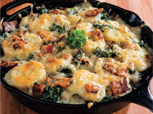 Skillet Potatoes with Swiss Chard & Bacon