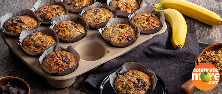 Banana-Granola Chocolate Chip Muffins
