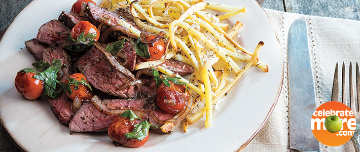 One-Pan Sirloin Steak with Zesty Parsnip Fries and Burst Tomato Topping