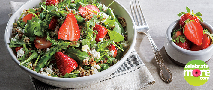 Strawberry, Arugula and Quinoa Salad with Asparagus & Feta
