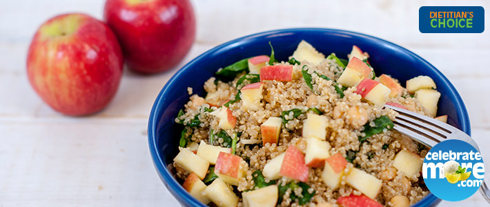 Quinoa Salad with Apples, Baby Spinach and Chick Peas in Maple Vinaigrette