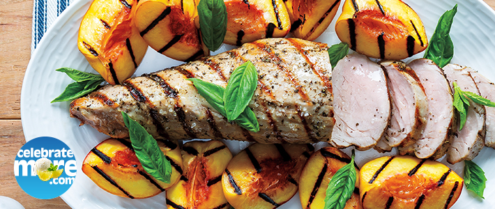Basil-Champagne Grilled Pork Tenderloin with Grilled Peaches