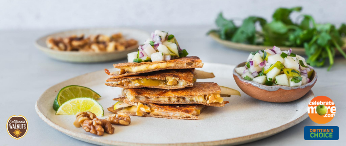 Walnut Pear Quesadilla with Spicy Pear Salsa