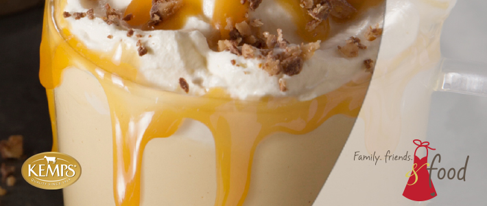 Kemps Egg Nog with Toffee Syrup Drizzle