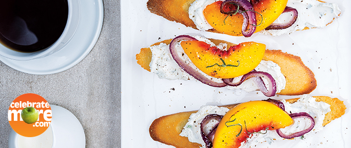 Goat Cheese & Roasted Peach Toasts