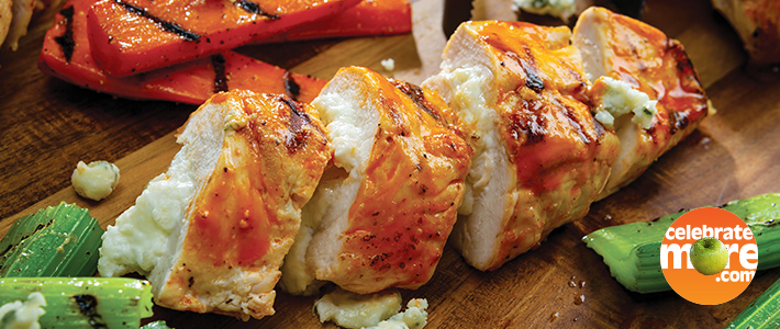 Grilled Buffalo Blue Cheese-Stuffed Chicken Breasts with Grilled Carrots & Celery