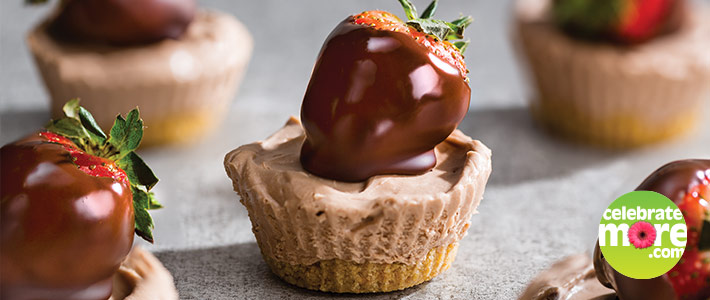 No-Bake Mini Chocolate Cheesecakes with Chocolate Covered Strawberries
