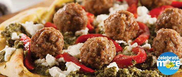 SIMEK'S Mini Meatball Pesto Pizza
