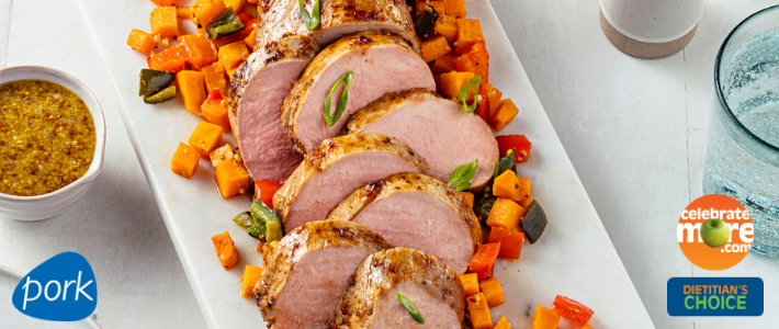 Garlic Dijon Pork Tenderloin with Sweet Potato Pepper Jumble