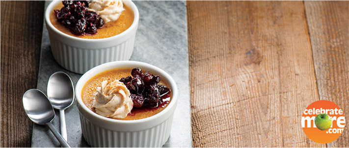 Pumpkin Pot de Crème with Cranberry Compote