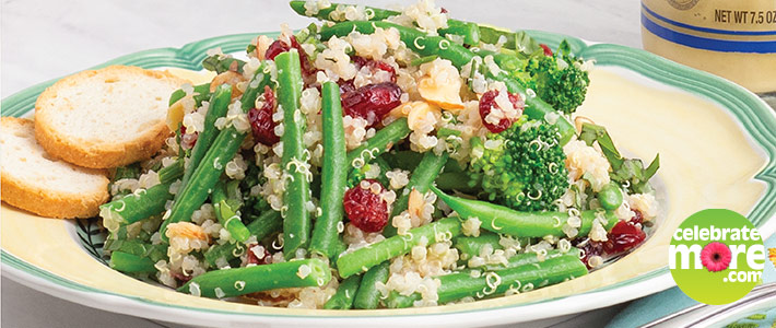Quinoa Salad with Dried Cranberries & Green Veggies